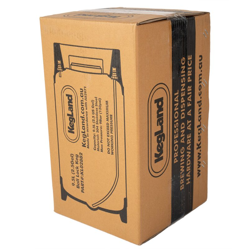 Cornelius keg 9,5 litraa pakkauksessa