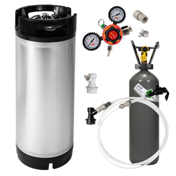 Täydellinen 19 litran kegisetti regulaattorilla, letkuilla, hanalla ja hiilidioksidipullolla