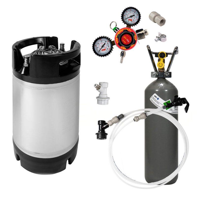 Täydellinen 9.5 litran kegisetti regulaattorilla, letkuilla, hanalla ja hiilidioksidipullolla