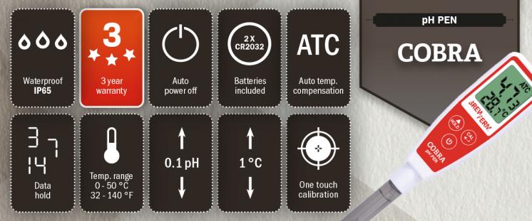 Brewferm Cobra pH-mittari ominaisuudet