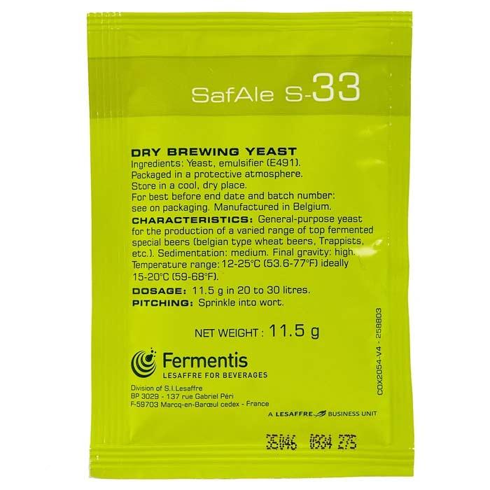 Fermentis SafAle S-33 Kuivatu oluthiiva 11.5g