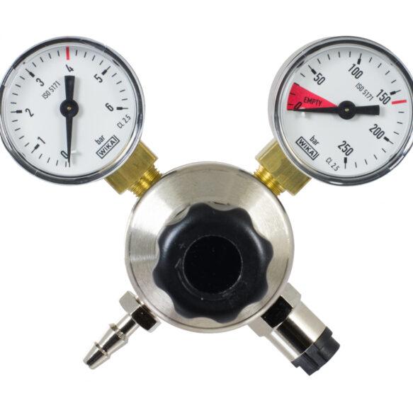 Oxyturbo regulaattori / paineensäädin hiilidioksidille kahdella mittarilla